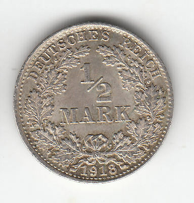 Germany Silver 1/2 Mark 1918D Shield Ef+     279C       By Coinmountain