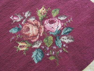 LARGE Vtg Wool ROSES Needlepoint Canvas CRANBERRY Background COMPLETED