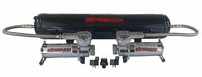 Air Ride Suspension Air Compressors 580 Chrome 5 Gal Tank 180 Off Switch & Relay