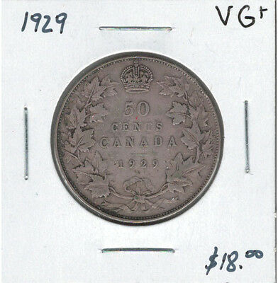 Canada 1929 Silver 50 Cents VG+ Lot #2