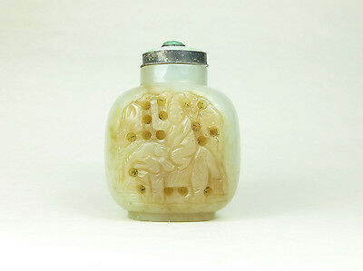 Antique Chinese 19th Century Carved Pale Celadon Jade Snuff Bottle Boy Elephant