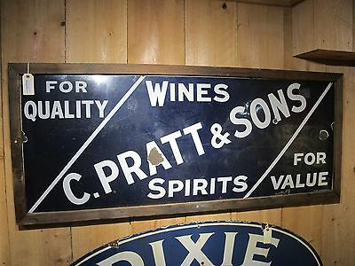"C. Pratt & Sons Wines and Spirits Advertisement Sign in Wooden Frame 62"" x 26"""