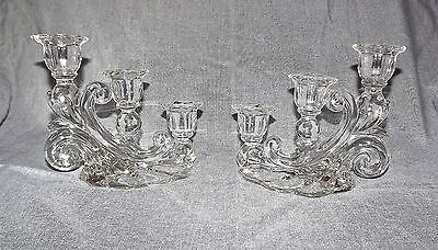 Set of 2 CAMBRIDGE CAPRICE - CLEAR TRIPLE CANDLE HOLDERS - Cascade Tiered - EUC