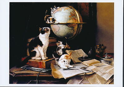 RONNER-KNIP  Feline Art Print GLOBETROTTERS Mother Cat Young Kittens Play