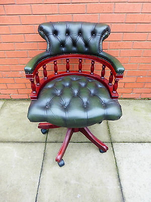 A Green leather Chesterfield Captains Chair ****DELIVERY AVAILABLE****