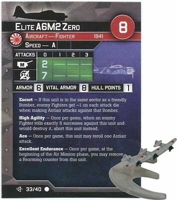 War at Sea miniatures 1x x1 Elite A6M2 Zero Surface Action NM with card
