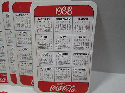 LOT OF 10 - COCA~COLA  1988 POCKET CALENDARS ON GLOSS PAPER with DATES AND NOTES