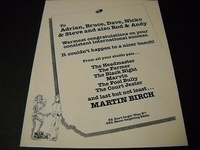 IRON MAIDEN ...It Couldn't Happen To A Nicer Bunch! vintage PROMO POSTER AD mint