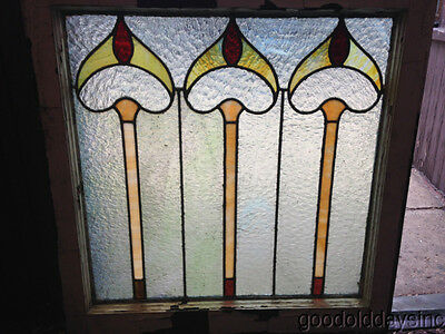 Antique Chicago Stained Leaded Glass Window 27 3/4 by 28 5/8""