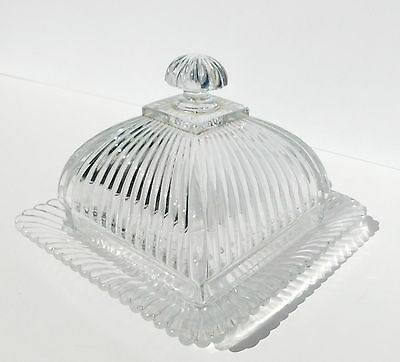 Antique EAPG Square Clear Ribbed Glass Dome Covered Butter Dish Cheese Plate