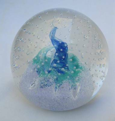Signed Caithness Scotland Fascination Bubbles Art Glass Paperweight 1C68771