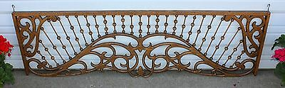 "Ornate Antique Oak Wood Stick & Ball Fretwork Room Divider Architectural 60""x18"""