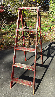 Vintage Tall Wood Step Ladder w/Chippy Drippy Paint c1920 Original Red Paint