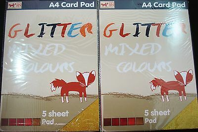 2 Packs Glitter 5 Sheet Pad A4 Paper Craft DIY Project Scrapbooking FREE POSTAGE