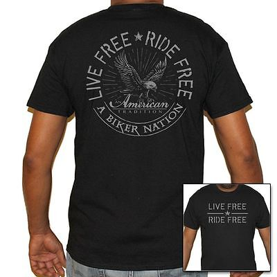 Mens Biker Life T-Shirt - Live Free Ride Free Biker Nation American Tradition