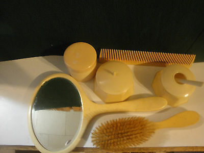 6 Pc.Vintage Ornate Brush and Mirror/ COMB/ CONTAINER  Vanity Set