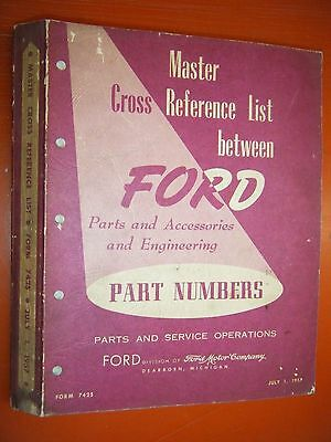 1957 Edsel Ford Master Cross Reference List Service Engineering Original