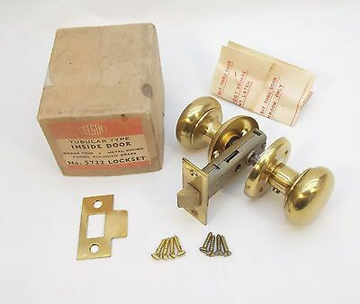 Vintage Antique ELGIN Polished Brass Door LOCKSET Inside w Orig Box and Screws