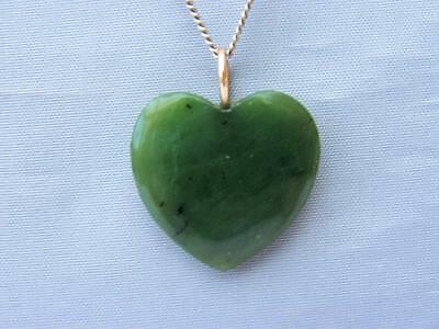 EXQUISITE Vintage CHINESE carved JADE Heart Pendant 18ct GOLD Bale