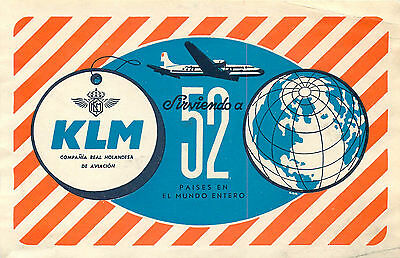 Holland Klm Royal Dutch Airlines Vintage Luggage Label