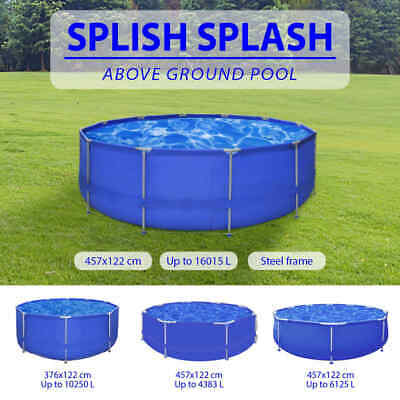 4 Sizes Above Ground Round Swimming Pool Steel Frame Outdoor Folding Spa Blue