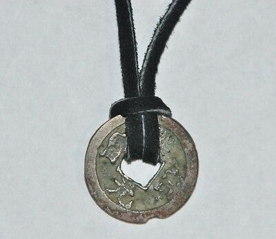 Authentic Ancient China Northern Song Dynasty Coin Pendant Leather Necklace
