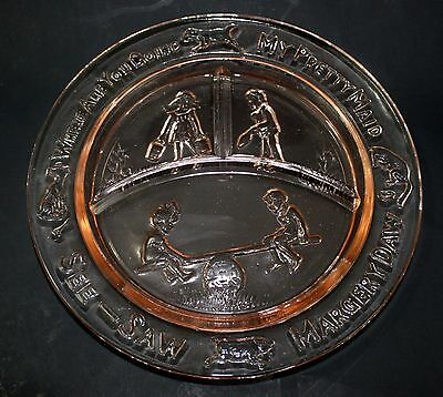 Margery Daw Pink Glass Childs Divided Nursery Rhyme Plate See Saw Pretty Maid