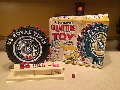 VINTAGE US ROYAL GIANT TIRE FERRIS WHEEL TOY w/ ORIGINAL BOX AND PLASTIC PEOPLE