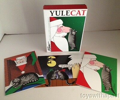(5) B KLIBAN Holiday Cards & Box Christmas Cats Pomegranate Envelopes