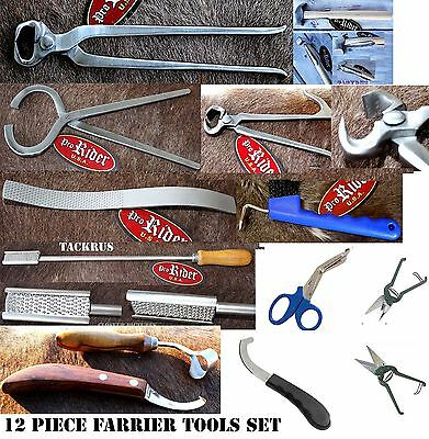 Horse Care Farrier Tool Complete Tool Kit Hoof Nipper Knife 12 Pieces 98475