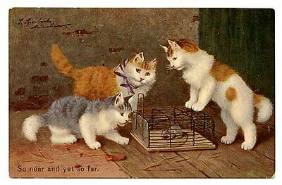 vintage cat postcard Sperlich ginger grey white cats ponder mouse in cage