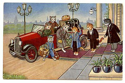 vintage cat postcard dressed cats couple arrive at hotel posh car luggage