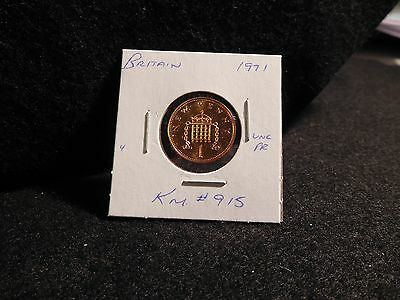 Uk (Great Britain):  1971    1 New  Penny  Coin  Proof ( Unc.)  (#7) Km #915