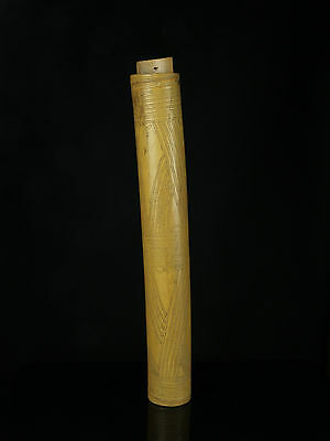 An Unusual Vintage Indo/Polynesian Chip Carved Bamboo Betel Lime Flask.