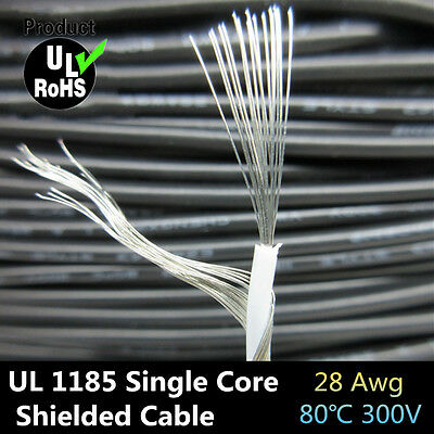 UL1185 28AWG Single Core Conductor Tinned copper Sprial Shielded audio cable