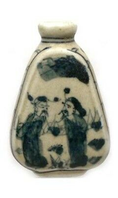 "Antique 19thC China Blue + White ""Ming Style"" Porcelain Park Motif Snuff Bottle"
