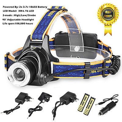 LED Headlight Torch 6000Lm XM-L T6 Headlamp Running Rechargeable Head Light Lamp