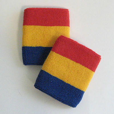 Sports Quality Red Yellow And Blue Sweat Wristbands