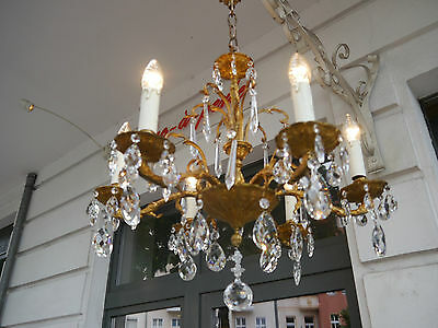 Rare Small 6 Light Gold Bronze Spain Chandelier Crystal Vintage Lamp French