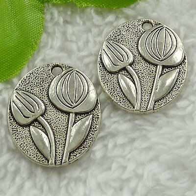 Free Ship 120 pieces tibet silver flower charms 25x21mm #1689