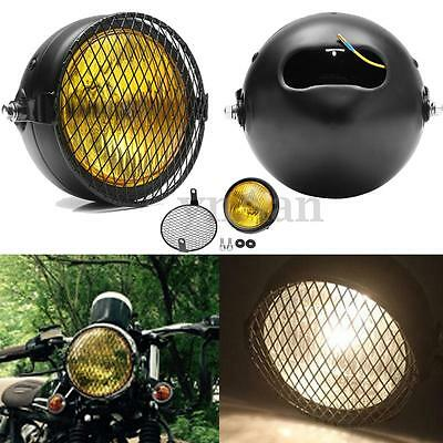 Retro Amber Vintage Motorcycle Side Mount Headlight w/Grill Cover For Cafe Racer