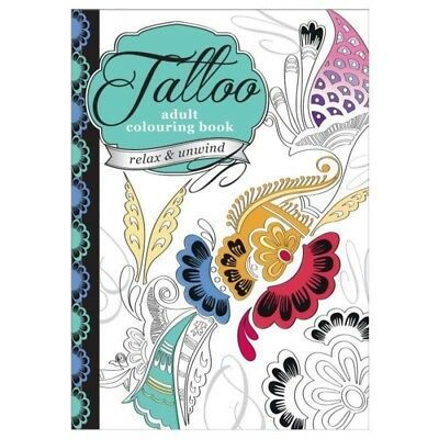 Anti Stress Tattoo Designs Adult A4 Colouring Book 60 Pages Relax & Unwind NEW