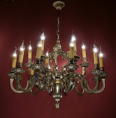 Very Heavy 18 Light French Mazarin Silver Nickel Chandelier Vintage Brass Old