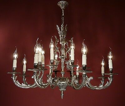 Stylish Big 16 Light Spanish Silver Nickel Chandelier Vintage Brass Vintage