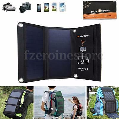 15W 5V Portable Folding Solar Panel Travel 2USB Battery Charger For Mobile Phone