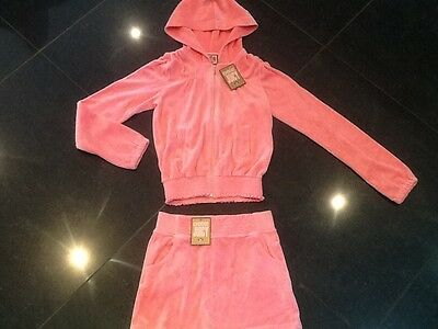 NWT Juicy Couture New & Genuine Girls Age 8 Pink Velour Tracksuit With Logo • EUR 43,89