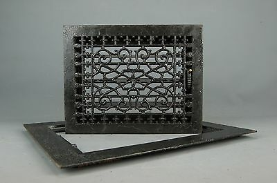 "Antique Aesthetic Movement cast Iron 2 pc Heat REGISTER VENT GRATE Frame 18""x15"""