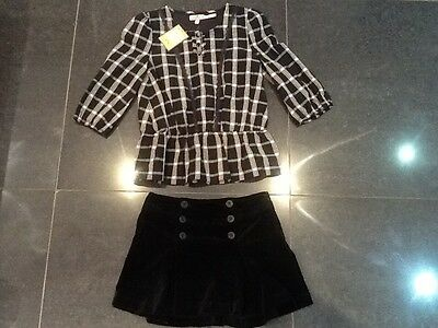 NWT Juicy Couture New & Gen. Black Velour Skirt & Cotton Shirt Set Girls Age 8