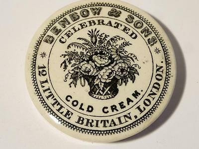 Antique BENBOW & SONS London Celebrated COLD CREAM Pictorial FLOWERS Pot Lid