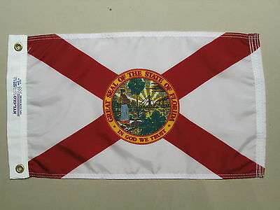 """Florida 1900 State Indoor Outdoor Dyed Nylon Boat Flag Grommets 12"""" X 18"""""""